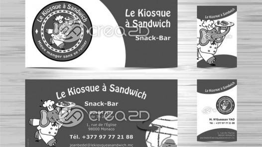 Flyer et carte de visite pour le Kiosque à Sandwich à Monaco