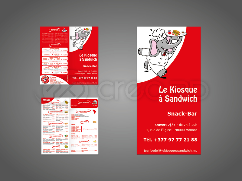 Flyer Carte De Visite Menu Snack Bar Monaco